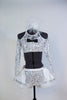 White and silver halter neck top with  long sleeves and a corset  lace-up back.Has black bow-tie accent .Comes with panty and white-silver, petticoat skirt. Front