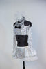 White and silver halter neck top with  long sleeves and a corset  lace-up back.Has black bow-tie accent .Comes with panty and white-silver, petticoat skirt. Side