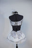 White and silver halter neck top with  long sleeves and a corset  lace-up back.Has black bow-tie accent .Comes with panty and white-silver, petticoat skirt. Back