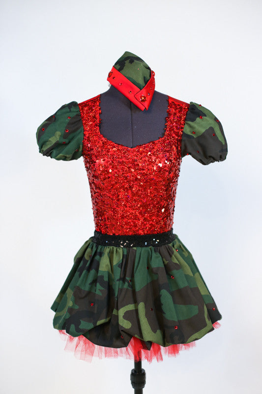Red mesh-backed bodysuit has red sequined front, camouflage sleeves and attached black panty. Has matching skirt with red tulle ruffle. Comes with army hat. Front