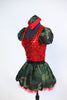 Red mesh-backed bodysuit has red sequined front, camouflage sleeves and attached black panty. Has matching skirt with red tulle ruffle. Comes with army hat. Side