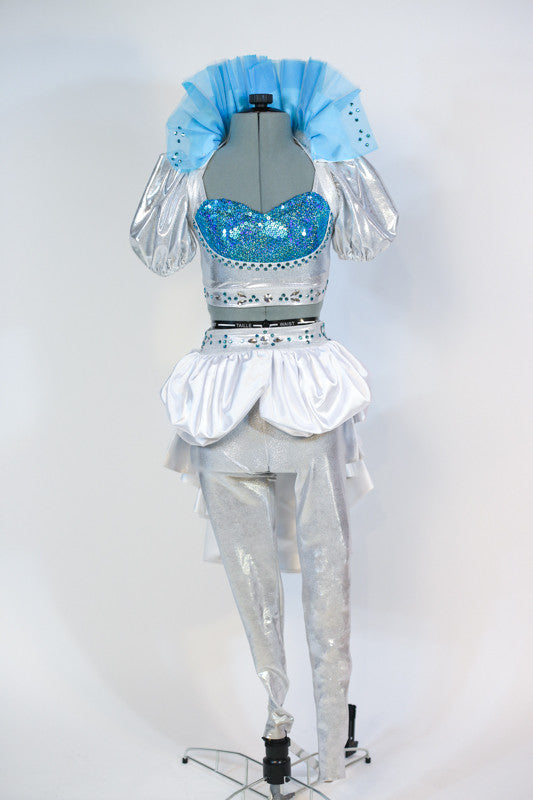Costume includes a silver half-top with turquoise insert. Has with silver metallic leggings,white bustle skirt & detachable collar (with turquoise appliques). Front Full