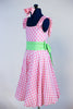 Pink and white gingham pattern dress with built in panty, shoulder ruffles and a pale green sash. Side