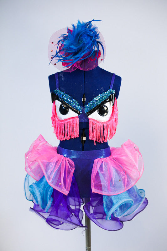 Blue sequined bra top that has monster eyes and pink fringe, Skirt is layers of twisty organza in bright pink, turquoise and purple. comes with hair piece, Front
