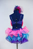 Blue sequined bra top that has monster eyes and pink fringe, Skirt is layers of twisty organza in bright pink, turquoise and purple. comes with hair piece, Back