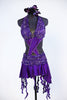 Purple dress has a built in bra attached to the skirt with front cross-over crystalled bands. Skirt has attached short & wide band of French beaded lace. Front