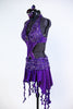 Purple dress has a built in bra attached to the skirt with front cross-over crystalled bands. Skirt has attached short & wide band of French beaded lace. Side