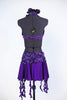 Purple dress has a built in bra attached to the skirt with front cross-over crystalled bands. Skirt has attached short & wide band of French beaded lace. Back