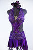 Purple dress has a built in bra attached to the skirt with front cross-over crystalled bands. Skirt has attached short & wide band of French beaded lace. Front zoom