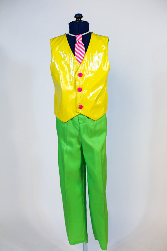 Custom designed neon green pants,& a bright yellow, shiny leathery vest with hot pink sparkle buttons and a pink and white striped tie. Own shirt needed. Front full