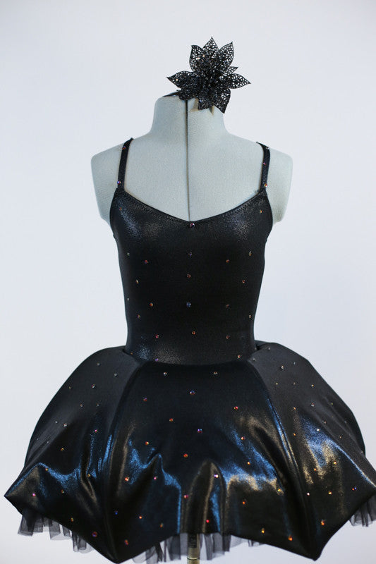 2 piece costume is black, leather-like fabric with a matching tutu type skirt with shaped boning  to a to create an umbrella effect with crystal raindrops. Zoom front
