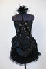 Black taffeta dress with black sequin detail has layers of tulle and crinoline, pink and AB Swarovski crystals, Comes with black head piece. Front