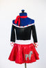 Black shiny off the shoulder body suit with white/red polk-a-dot trim/cuffs. Comes with a red, ruffled poodle skirt, white sparkle belt and red neck scarf. Front