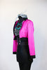 "Hot pink crop sparkle jacket, with ""Pink Ladies"" on back. Comes with black leathery leggings with mesh side & a black/white/silver/aqua half top. Side"