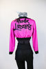 "Hot pink crop sparkle jacket, with ""Pink Ladies"" on back. Comes with black leathery leggings with mesh side & a black/white/silver/aqua half top. Back"
