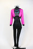 "Hot pink crop sparkle jacket, with ""Pink Ladies"" on back. Comes with black leathery leggings with mesh side & a black/white/silver/aqua half top. Front Full"