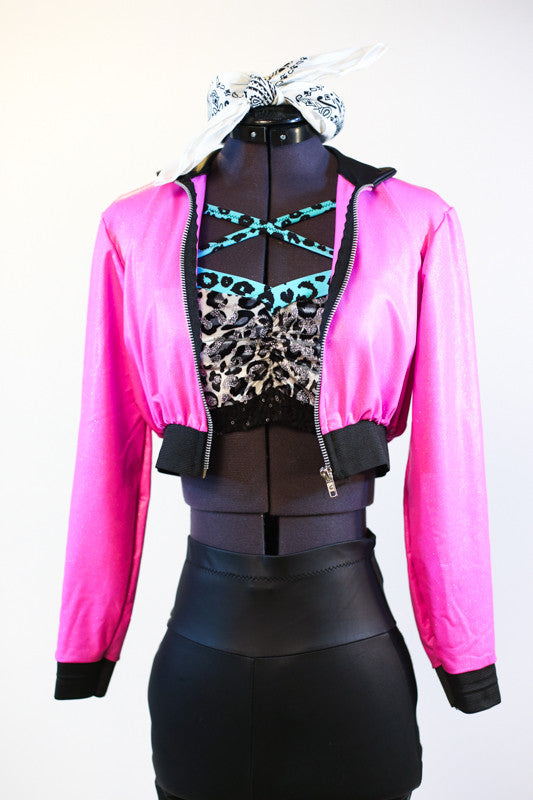 "Hot pink crop sparkle jacket, with ""Pink Ladies"" on back. Comes with black leathery leggings with mesh side & a black/white/silver/aqua half top. Zoomed"