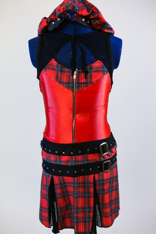 Shimmery red and black mesh front zip top with tartan accents, comes with a tartan pull-on kilt-like skirt with buckle accents and a tam-o-shanter hat. Zoomed