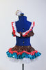 Turquoise-gold-coral sequined top has white ruffles & matching ruffled  sequined skirt with an attached panty. Has large cupcake hair piece with a cherry on top. Back
