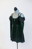 Green, sparkle velvet, off the shoulder, tunic dress has crystals, long sleeves & black chiffon draping at the shoulder. Comes with black floral hair accessory. Side