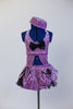 Lavender glitter velvet half-top is attached  to a black petticoat skirt & panty with matching purple overlay. Large black bow at front & matching pill hat. Front