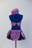 Lavender glitter velvet half-top is attached  to a black petticoat skirt & panty with matching purple overlay. Large black bow at front & matching pill hat. Back