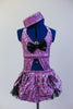Lavender glitter velvet half-top is attached  to a black petticoat skirt & panty with matching purple overlay. Large black bow at front & matching pill hat. Front zoom