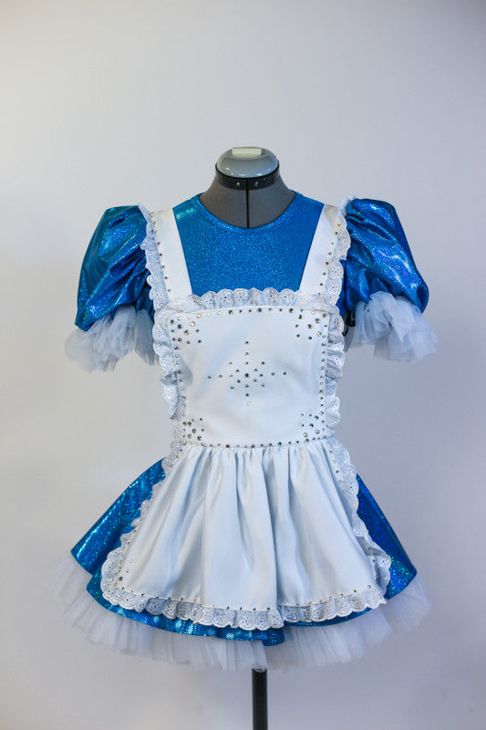 Blue sequined dress with pouffe sleeves, has an attached panty and layered petticoat skirt. Has an attached white pinafore apron and a black headband. Front