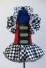 Black &White harlequin pattern dress has red/black sequined a bodice with crystal buckle accents and a large harlequin collar. With black top-hat 9 of hearts. Front zoomed