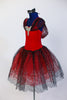Red tutu dress has attached black/silver scalloped lace tutu skirt with red tulle beneath. Silver sequined applique and lace shawl collar adorn bodice. Side