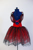 Red tutu dress has attached black/silver scalloped lace tutu skirt with red tulle beneath. Silver sequined applique and lace shawl collar adorn bodice. Back