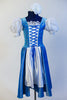 Iridescent blue taffeta dress has white apron, pouff white lace sleeves & blue velvet bodice with silver pattern & white insert with blue satin tie-corset. Front