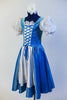 Iridescent blue taffeta dress has white apron, pouff white lace sleeves & blue velvet bodice with silver pattern & white insert with blue satin tie-corset. Side