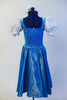 Iridescent blue taffeta dress has white apron, pouff white lace sleeves & blue velvet bodice with silver pattern & white insert with blue satin tie-corset. Back
