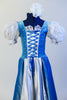 Iridescent blue taffeta dress has white apron, pouff white lace sleeves & blue velvet bodice with silver pattern & white insert with blue satin tie-corset. Front zoomed
