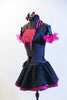Black half-top has pink sequin insert, fringe & halter style striped collar. Has a black skirt, with pink petticoat & panty.Comes with  gauntlets & hair piece. Side