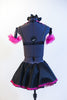 Black half-top has pink sequin insert, fringe & halter style striped collar. Has a black skirt, with pink petticoat & panty.Comes with  gauntlets & hair piece. Back