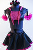 Black half-top has pink sequin insert, fringe & halter style striped collar. Has a black skirt, with pink petticoat & panty.Comes with  gauntlets & hair piece. Front zoomed