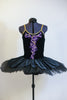 Black velvet hand painted open back tutu is a single attached piece comprised of the bodice, panty and overlay & boned, tacked  professional, platter tutu. Front Zoom