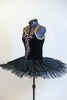 Black velvet hand painted open back tutu is a single attached piece comprised of the bodice, panty and overlay & boned, tacked  professional, platter tutu. Side