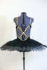 Black velvet hand painted open back tutu is a single attached piece comprised of the bodice, panty and overlay & boned, tacked  professional, platter tutu. Back