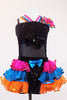 Black sequined &mesh leotard has crystal bow/band accents. Has colourful triple halter straps, pink-turquoise-orange organza ruffled skirt &matching headpiece. Front zoom