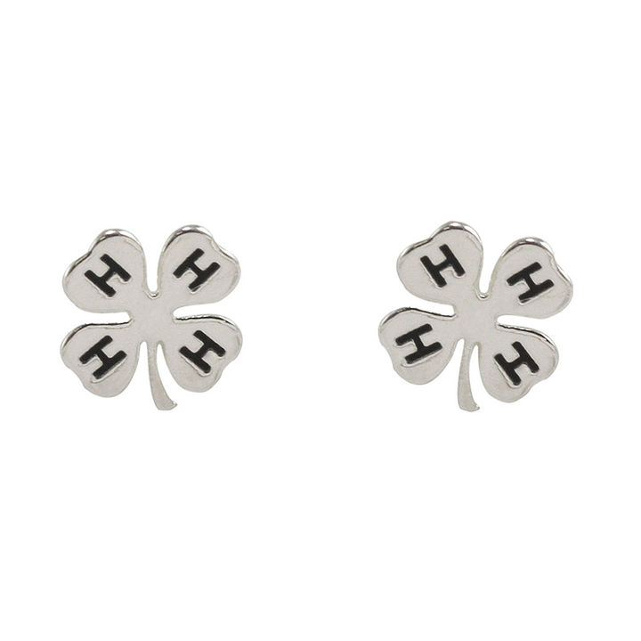Silver Plated Clover Stud Earrings