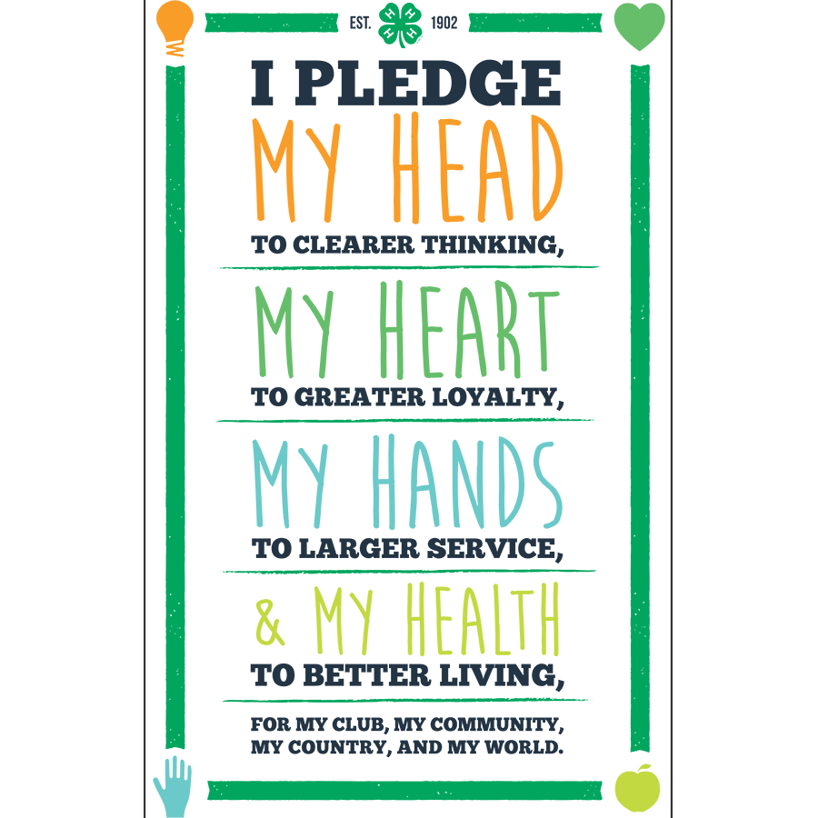 4-H Pledge Print - White Background