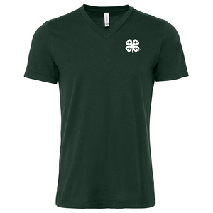 Women's Dark Green V-Neck With Clover Logo