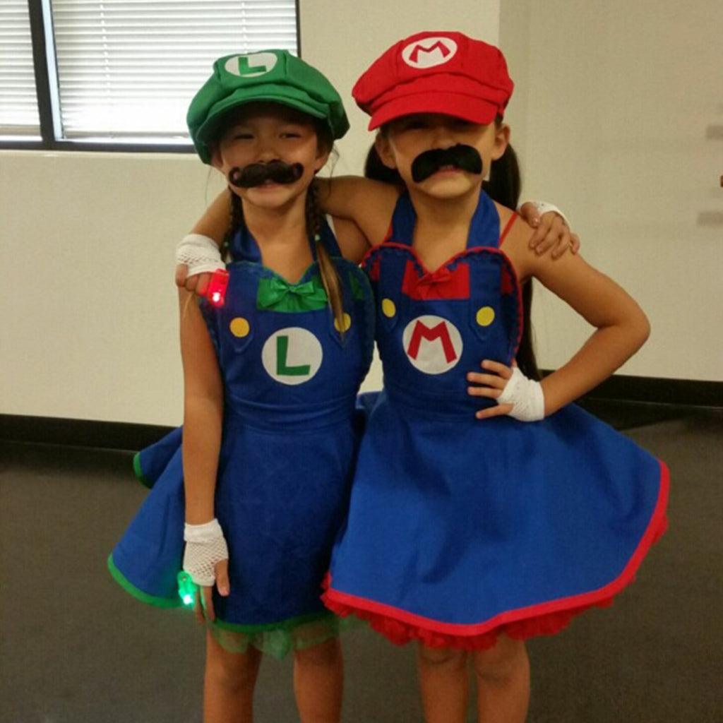 Super Mario and Luigi Costume for Little Girls Children by Bambino Amore
