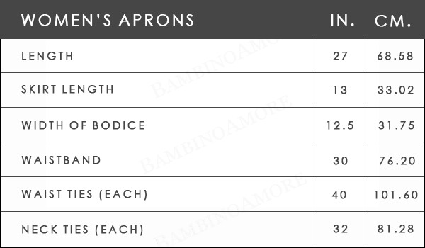 Women's Apron Size Measurements from Bambino Amore - the apron makers
