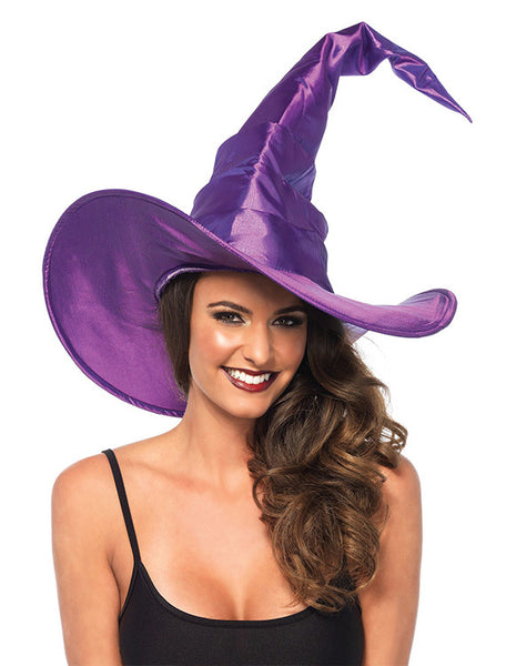 Accessorize Your Bambino Amore Apron with this Large Ruched Purple Witch Hat by Leg Avenue
