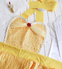 The Belle Costume Apron with Long Satin Gloves by Bambino Amore - The Apron Makers