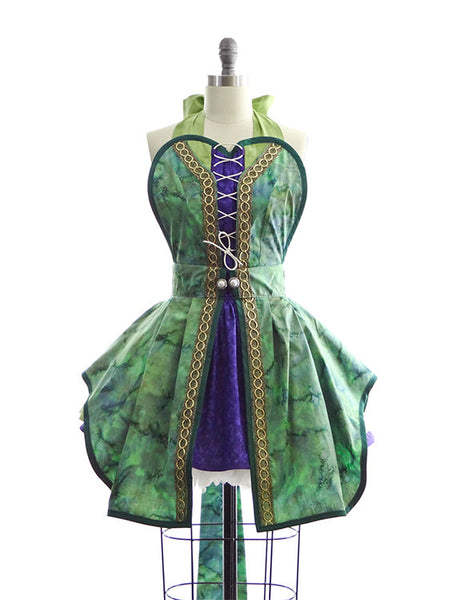 Hocus Pocus Green Witch Costume Apron for Women by Bambino Amore